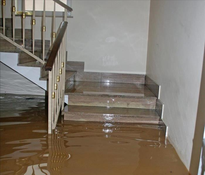 Flooded water in the stairs of a home